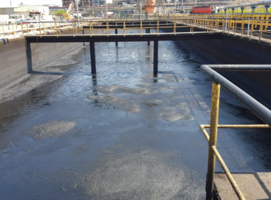 Sludge in the refinery. This is just one of the hazardous wastes Green O.C.'s reactor can process