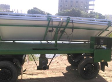 The Mobile Solar Pump when it is fully- folded. Compact, reliable and robust unit that can be easily moved and shared