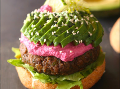 Vegan burger, avocado, and beet hummus from KAJU