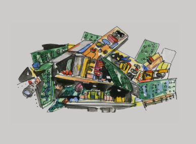 All the items that can become electronic waste - illustration by Ángela Palacios