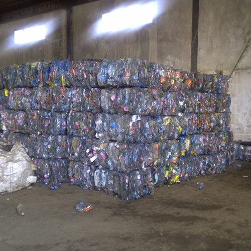 Plastic bottles collected from landfills