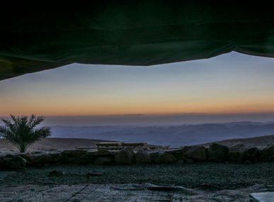The sunrise from Desert Shade's bedouin tent